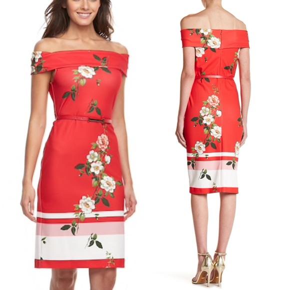 e61df0f5fa5 Sharagano Floral Off-the-Shoulder Dress